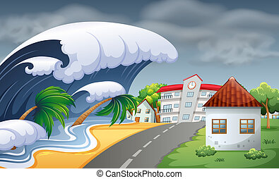 Tsunami hitting the town illustration