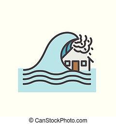 Tsunami, House flood, Natural disaster concept, Vector flat...
