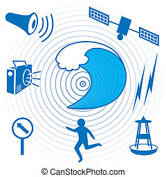 Tsunami Icons and Symbols - Earthquake epicenter, giant...