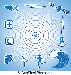 Tsunami Icons and Symbols - Earthquake epicenter, satellite ...