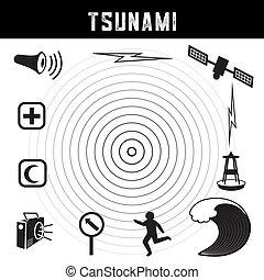 Tsunami Icons and Symbols - Tsunami icons and symbols:...