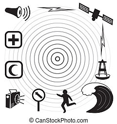 Tsunami Icons and Symbols - Earthquake epicenter, satellite...