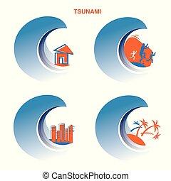 tsunami, inundação, disaster.vector, símbolos, ilustração