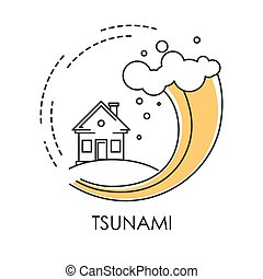 Tsunami isolated icon, wave covering house, flood - Water...