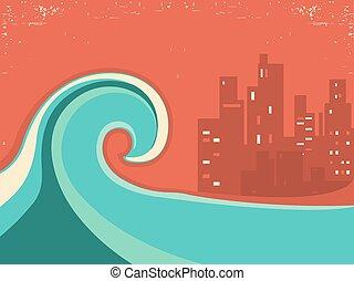 tsunami, night., ville, énorme, affiche, grande vague