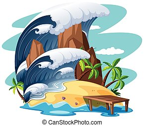 Tsunami on island scene illustration