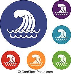 tsunami, onda, ícones, jogo