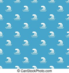 tsunami, padrão onda, seamless, azul