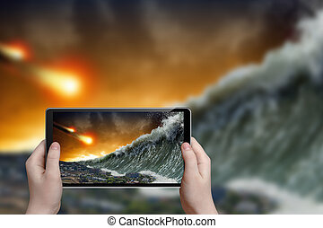 Tsunami photograph - Abstract tablet pc in hands photographs...