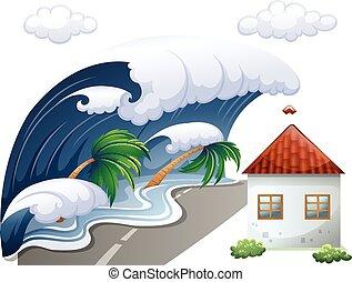 Tsunami scene with big waves and house
