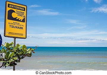 Tsunami sign - BALI - FEBRUARY 19. Tsunami warning sign on...