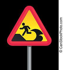 tsunami, simbolo di avvertenza
