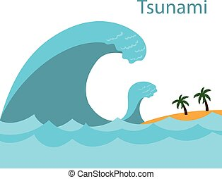 tsunami., um, grande, wave.