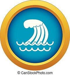 Tsunami wave icon blue vector isolated