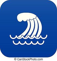 Tsunami wave icon digital blue