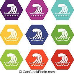 Tsunami wave icon set color hexahedron - Tsunami wave icon...