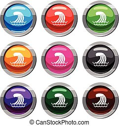 Tsunami wave set 9 collection - Tsunami wave set icon...