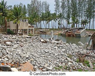 tsunami, zniszczenie