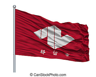 Tsuru City Flag On Flagpole, Japan, Yamanashi Prefecture, ...
