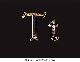 Tt Amethyst Jeweled Font with Gold