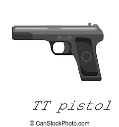 TT Pistol gun, military handgun weapon, firearm automatic revolver black isolated icon, vector illustration.