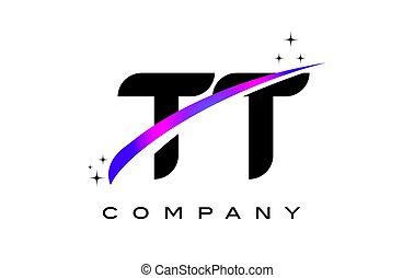 TT T Black Letter Logo Design with Purple Magenta Swoosh