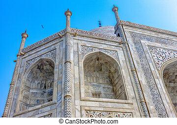 ttaj, palazzo, frammento, mahal, -, dettagli, architettonico, grande, india