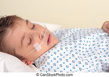 Ttauma patient with nasal cannula - closeup - Sick child...