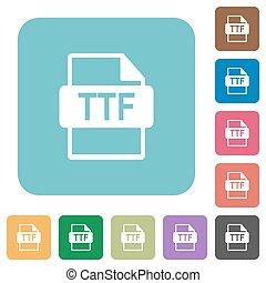ttf, bestand, formaat, afgerond, plein, plat, iconen