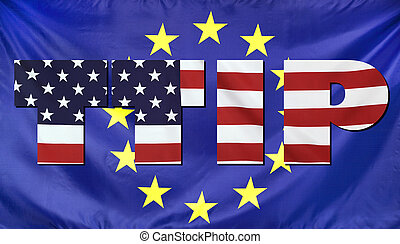 TTIP Concept USA and EU flags composition - Concept TTIP -...