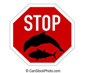 tuńczyk, delfin, zatrzymywać, wędkarski, znak