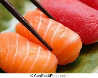 tuńczyk, jadło, zachwycający, sushi, łosoś, japończyk