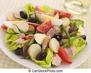 tuńczyk, nicoise, sałata