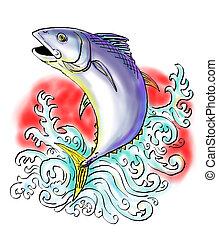 tuńczyk, skokowy, bluefin, fale