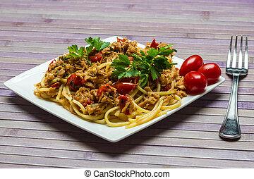 tuńczyk, spaghetti