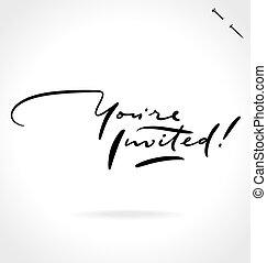 tu, é, convidado, mão, lettering