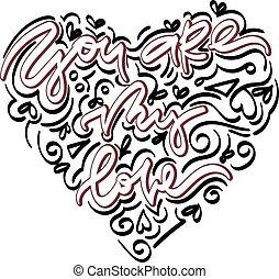 tu, é, meu, amor, mão, desenhado, lettering.
