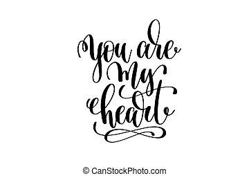 tu, é, meu, coração, mão, lettering, inscrição