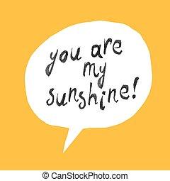 tu, é, meu, sol, lettering, ligado, amarela, papel, textura