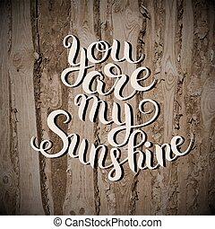 tu, é, meu, sol, mão, lettering, inscrição, tipografia, cartaz