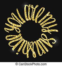 tu, é, meu, sol, ouro, mão, lettering.