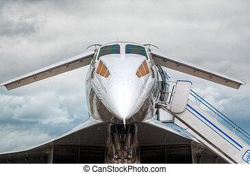 tu-144 supersonic jet on the ground on international aviation show