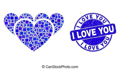 tu, amor, azul, angústia, selo, corações, mosaico