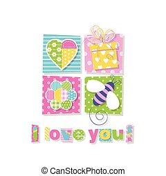 tu, amor, cartão cumprimento