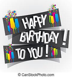 tu, aniversário, cartão cumprimento, feliz