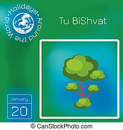 Tu BiShvat. Jewish festival of fruit trees. Tree with a...