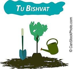 Tu Bishvat Jewish new year of trees. Planting trees on Tu...