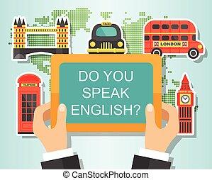 tu, falar, inglês