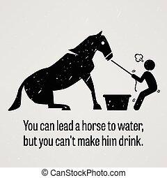 tu, lata, liderar, um, cavalo, para, água, mas, y