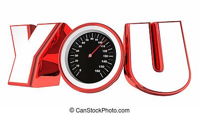 tu, velocímetro, palavra, medida, sucesso, realização, 3d, ilustração